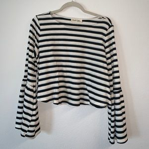Black and white striped knit bell sleeve crop